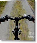 Speeding Mountain Bicycle Metal Print