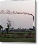 Spewing Smoke And Pollution Into A Green Rural Environment Metal Print