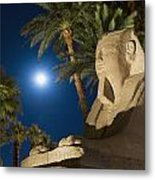 Sphinx And Date Palms With Full Moon Metal Print