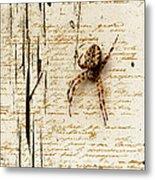 Spider Letter Metal Print by Yvon van der Wijk