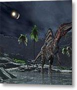 Spinosaurus Witnessing A Lunar Impact Metal Print