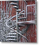 Spiral Staircase With Snow And Cooper's Hawk Metal Print