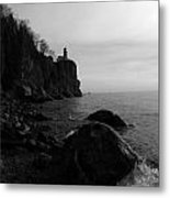 Split Rock Lighthouse  Black-and-white Metal Print
