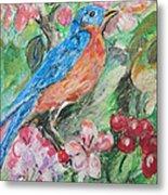 Spring Bluebird Collage Metal Print
