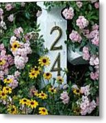 Spring Flowers And Fencepost Metal Print