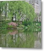 Spring Reflections Of Manhattan In Central Park Metal Print