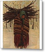 Squaw With Wood Metal Print