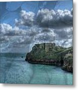 St Catherines Rock Tenby With A Shell Texture Metal Print