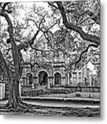 St. Charles Ave. Mansion Monochrome Metal Print
