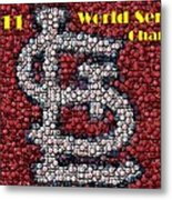 St. Louis Cardinals World Series Bottle Cap Mosaic Metal Print