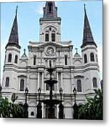 St Louis Cathedral And Fountain Jackson Square French Quarter New Orleans Accented Edges Digital Art Metal Print