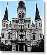 St Louis Cathedral And Fountain Jackson Square French Quarter New Orleans Fresco Digital Art Metal Print