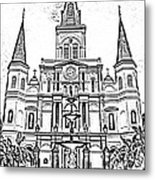 St Louis Cathedral And Fountain Jackson Square French Quarter New Orleans Photocopy Digital Art Metal Print