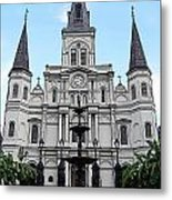 St Louis Cathedral And Fountain Jackson Square French Quarter New Orleans Poster Edges Digital Art Metal Print