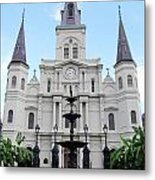 St Louis Cathedral And Fountain Jackson Square French Quarter New Orleans  Metal Print