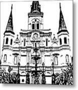 St Louis Cathedral And Fountain Jackson Square French Quarter New Orleans Stamp Digital Art Metal Print