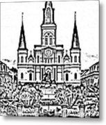 St Louis Cathedral On Jackson Square In The French Quarter New Orleans Photocopy Digital Art Metal Print