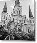 St Louis Cathedral Rising Above Palms Jackson Square French Quarter New Orleans Black And White Metal Print