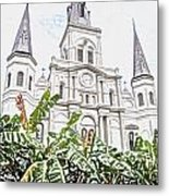 St Louis Cathedral Rising Above Palms Jackson Square New Orleans Colored Pencil Digital Art Metal Print