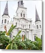 St Louis Cathedral Rising Above Palms Jackson Square New Orleans Diffuse Glow Digital Art Metal Print