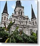 St Louis Cathedral Rising Above Palms Jackson Square New Orleans Fresco Digital Art Metal Print