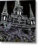 St Louis Cathedral Rising Above Palms Jackson Square New Orleans Glowing Edges Digital Art Metal Print