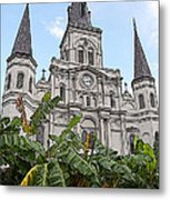 St Louis Cathedral Rising Above Palms Jackson Square New Orleans Poster Edges Digital Art Metal Print