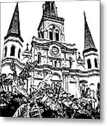 St Louis Cathedral Rising Above Palms Jackson Square New Orleans Stamp Digital Art Metal Print