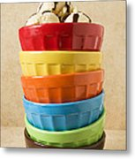 Stack Of Colored Bowls With Ice Cream On Top Metal Print