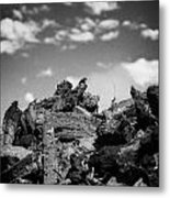 Stack Of Peat Turf Gathered Dried In Ireland Metal Print