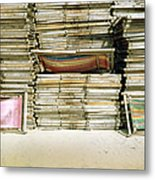 Stacked Deckchairs On Beach Metal Print