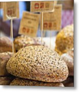 Stacks Of Fresh Bread For Sale Metal Print by Hybrid Images