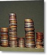 Stacks Of Various Currency Coins Metal Print