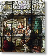 Stained Glass Family Giving Thanks Metal Print