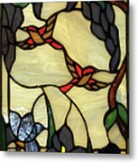 Stained Glass Humming Bird Vertical Window Metal Print by Thomas Woolworth