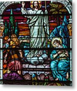 Stained Glass Jesus Metal Print