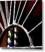 Stained Glass Sun Metal Print