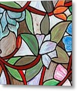Stained Glass Wild  Flowers Metal Print