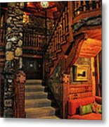 Stairway In Gillette Castle Connecticut Metal Print
