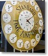 Standard Time Zone Clock. Metal Print by Mark Williamson