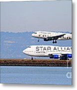 Star Alliance Airlines And Frontier Airlines Jet Airplanes At San Francisco Airport . Long Cut Metal Print