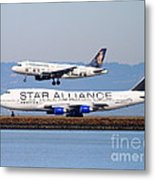 Star Alliance Airlines And Frontier Airlines Jet Airplanes At San Francisco International Airport Metal Print