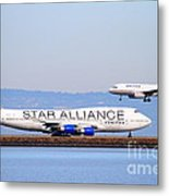 Star Alliance Airlines And United Airlines Jet Airplanes At San Francisco International Airport Sfo  Metal Print