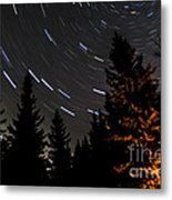 Star Trails Above Spruce Tree Line Metal Print by Darcy Michaelchuk