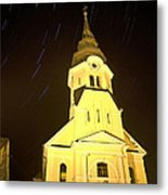 Star Trails Behind Vodice Church Metal Print