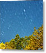 Star Trails On A Blue Sky Metal Print