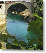 Stari Most Or Old Town Bridge Over The Metal Print