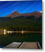 Starry Night Of Mountains And Lake Metal Print