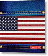 Stars And Stripes Denim Metal Print by Jane Rix