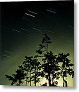 Startrails And Moonlit Fog, Canada Metal Print by David Nunuk